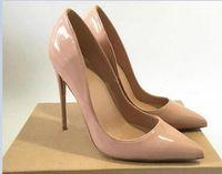Spedizione gratuita Nero pelle di montone Nude pelle verniciata Poined Toe Donne Pompe, 120mm Moda lRed Bottom Tacchi alti Scarpe per le donne Scarpe da sposa