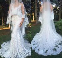 Sexy Spitze Brautkleider mit Tasche tiefem V-Ausschnitt Backless Trompete Long Beach Brautkleid ohne Schleier Meerjungfrau Brautkleider Backless