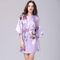 Stylish Rayon Female Mini Nightdress Hot Sexy Five-sleeve Pajama For Women Summer Floral Print Home Wear