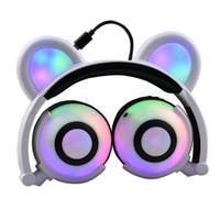 Urso Auricular Fones de ouvido piscando brilhando cosplay dobrável over-ouvente jogo sem fio música fone de ouvido para celular ipad ipod