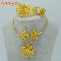 Anniyo Flower Jewelry sets Gold Color Bridal Wedding sets Necklace Earrings  Bangle Ring Ethiopian Africa Arabia Items  020906 D18101003 d7ed293f84b6