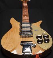Rare John Lennon 325 Escala Escala Dark Natural Guitarra Elétrica Pickguard Ouro, Ouro Truss Rod Tampa, Tailpiece Vibrato, Red Gloss Fingerboard