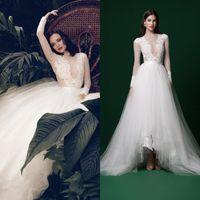 2019 billig Eine Linie Brautkleider Spitze Applique Langarm Tüll High Low Bridal Gowns Plus Size Robe de Mariée