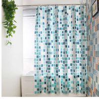 Elegante Grid Style Wasserdicht Duschvorhänge Warme Undurchsichtige Badezimmer Zubehör Mark Drachen Farbe Mehltau Resistant Bad Vorhang