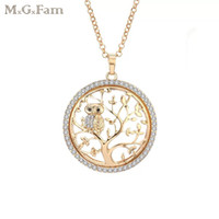 MGFam (219N) The Tree of Life and Owl Pendant Long 60cm Chai...