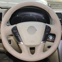 Beige echtes Leder Hand genäht Auto Lenkradbezug für Nissan Teana 2008-2012 Murano 2009-2014