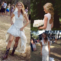 Vintage Country Wedding Dresses V Neck Cap Sleeves Floor Len...