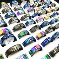 Groothandel 100 stks / partij Mix Kleuren Engelse Lord's Prayer Jesus Cross Rvs Ringen voor Mannen Vrouwen Gloednieuw
