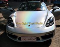Premium Beyaz Gökkuşağı Metalik Folyo Sarma Parlatıcısı Prisma Araba Vinil Wrap Film Kabarcık Ücretsiz Araba Styling Için