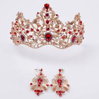 Красный и темно-зеленый кристалл на Золотой короне элегантные свадебные аксессуары для волос с серьгами Принцесса Корона старинные девушки головные уборы