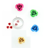 whole saleHot selling 5 Mixed color rose floating charms living glass floating memory locket charms wholesale