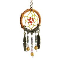 keychain m 2X Unique Key Chain Ring Feather Bead Dream Catch...