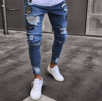 Men Badge Pencil Pants Ripped Biker Jeans Spring Hiphop Casu...