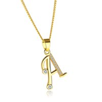 A- Z Crystal Letter Lucky Pendants Necklaces Golden Initial N...