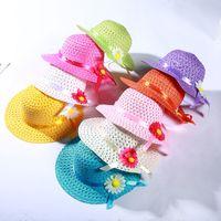 Belle fleur de tournesol chapeaux enfants Sunhat bébé bébé filles casual plage chapeau de paille chapeau paille sac à main pour enfants 18 couleurs kbh87