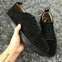New Low Cut Suede cravado Toe Casual Flats Red Shoes fundo para Homens e Mulheres do partido Sneakers Famoso