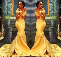 African Nigerian Yellow Mermaid Prom Dresses 2018 Off Should...