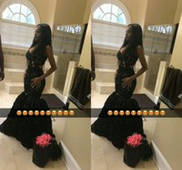 2019 Sexy Black Girls Prom Dresses V Neck Lace Appliques Mermaid Formal Occasion Evening Gown Custom Made