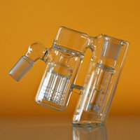 Portacenere da 45 gradi Ashcatcher per bong in vetro Gorgogliatore di vetro Ash Catcher albero a doppia camera braccio perc 14 / 18mm giunto