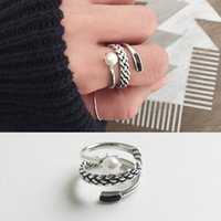 Rotational Winding Shape Sterling Silver Rings S925 Vintage ...