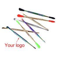OEM logo Pour dabber cire outil outil en acier inoxydable dab avec des conseils de silicone pour herbe sèche vaporisateur stylo dôme percolateur pipe à eau