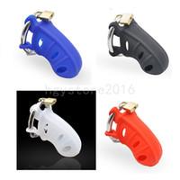 Nuevo anillo de acero Pene masculino Castidad Dispositivo sagrado / Cinturón Cerradura de silicona Jaula Trainer # R78