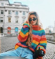Fashion batwing sleeve rainbow sweater Elegant women pullove...