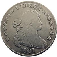 미국 동전 1801 Draped Bust Brass 실버 도금 달러 편지 가장자리 복사 동전