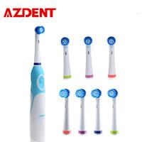 Azdent 8 رؤساء فرشاة الأسنان الكهربائية الدوارة نوع فرشاة رؤساء بطارية تعمل