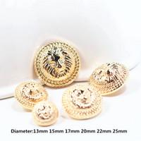 50PCs Gold Lion Diameter av 13mm-25mm guldmetallknappar, kläder tillbehör, skjorta, kappa märke knappar, w8