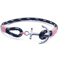 Tom espero charme pulseiras de navegação pulseiras de corda para homens corda rosa handcraft pulseira vintage charme braceletes presente de natal