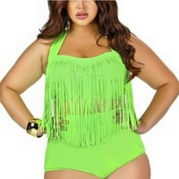 2018 Verão Sexy Halter Bikinis Two Piece Terno Estilo Casual Longo Borla Cintura Alta Push Up Magro Swimsuit Plus Size 3XL