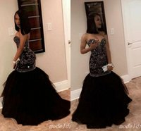 Black African Mermaid Prom Dresses Sweet Heart Sweep Train M...