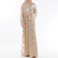 Mulheres da moda bordado de lantejoulas rendas perspectiva abaya mulheres muçulmanas longo cardigan chiffon blusa turco islâmico clothing a870
