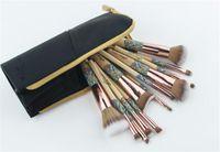 Fundación del polvo del cepillo 12pcs conjuntos de bambú maquillaje profesional Fundación de resaltado de sombra de ojos cepillo conjunto envío libre de DHL