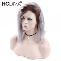 Ombre T1B Gray Bob Wigs 13X4 Lace Front Human Hair Wigs for ...