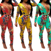 Summer Rompers Womens Jumpsuit Bodycon Long Sleeve Sexy V- Ne...