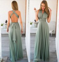 2018 Sexy Halter Evening Dresses Chiffon Criss Cross Straps ...