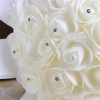 2018 Nouveau artificielle Bouquets de mariée en satin tulle strass mariée demoiselle d'honneur Posy Broche Bouquet Ivoire CPA1548