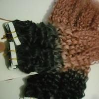 Tape in Human Hair Extensions شريط مزدوج مرسوم في شعر إنساني غريب مجعد T1B / 27 40 pieces أومبير بشرة لحمة الشعر 100 جرام