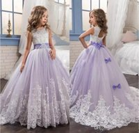 New Arrival 2018 Beautiful Lavender Flower Girls Dresses Bea...