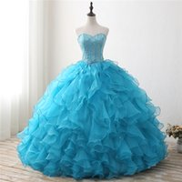 2018 New Blue Ball Gown Quinceanera Dresses Beaded Prom Swee...