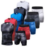 Neue Compression Muscle Trainingsanzug Demix Running Set Fitness Engen Weste Legging Shorts Herren Sportswear Gym Sport Anzug 5 Farben