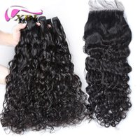 xblhair curly hair with closure 3 bundles water wave human h...