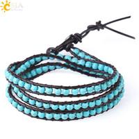 CSJA Bohemian Cuir Bracelets Green Turquoise Gemstone MultiLouche Perles Perles Bracelet pour filles Femmes 6mm de large Boho Boho Bijoux S141