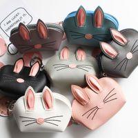 Style coréen 3D titulaire de la carte en cuir PU oreille de lapin avec porte-clés accrochant lapin carte de crédit porte-monnaie Party Favor