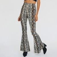أزياء المرأة الأوروبية مثير عالية الخصر bodycon تونك ثعبان طباعة مضيئة السراويل سراويل طويلة زائد حجم smlxl