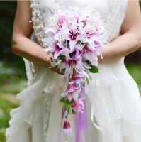 Artificia Bouquets De Casamento com rattan artificiais flores de noiva buquê decorações de casamento artificial Lírio rosa WQ32