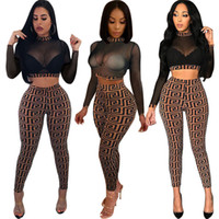 2018 Autunno Donne Sexy Sheer Plaid 2p Pantsuit Elasticizzato Collo alto Manica lunga Crop Top Vita alta Slim Pantalone Party Two Piece Outfit