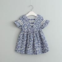 2018 INS venta caliente verano niña niños flores completas estampado vestido azul niños cuello redondo manga voladora vestido elegante envío gratis